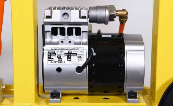 Close up of standard vacuum lifter KSAF-06 vacuum pump from HHH Tempering Resources