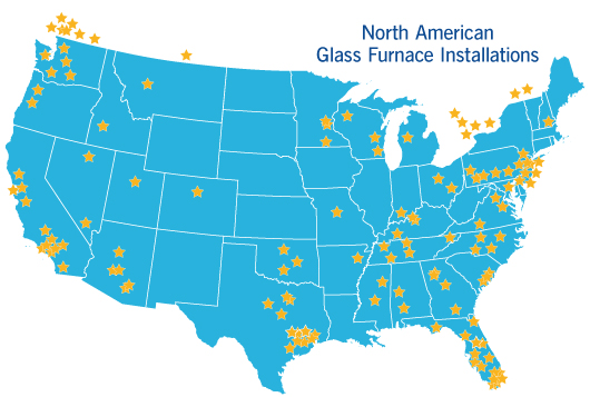 North American Glass Furnace Installations from HHH Tempering Resources