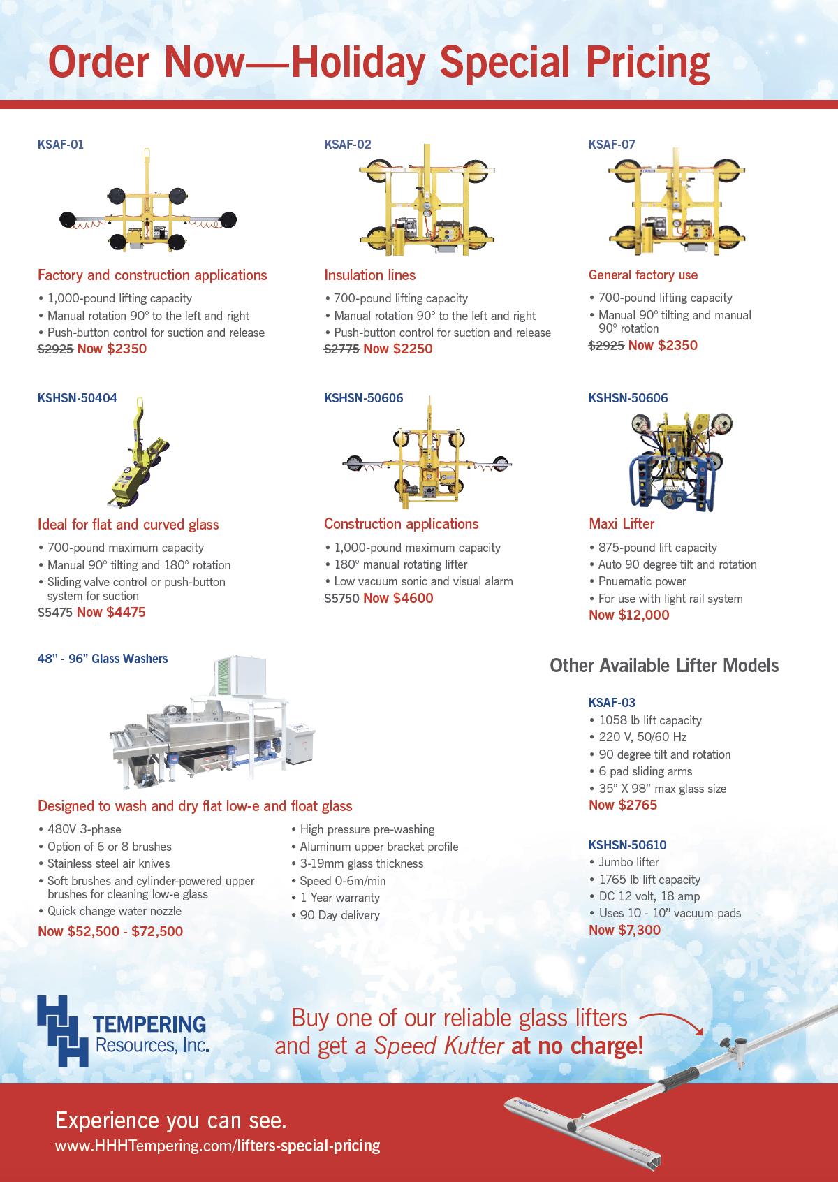 HHH Tempering Resources | Glass Lifters and Washers Sale