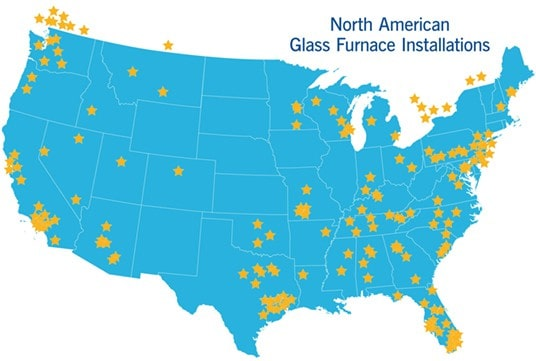 Map of HHH North American Glass Furnace Installations